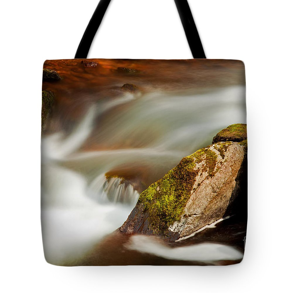 River Tote Bag featuring the photograph Flowing River Blurred Through Rocks by Simon Bratt Photography LRPS