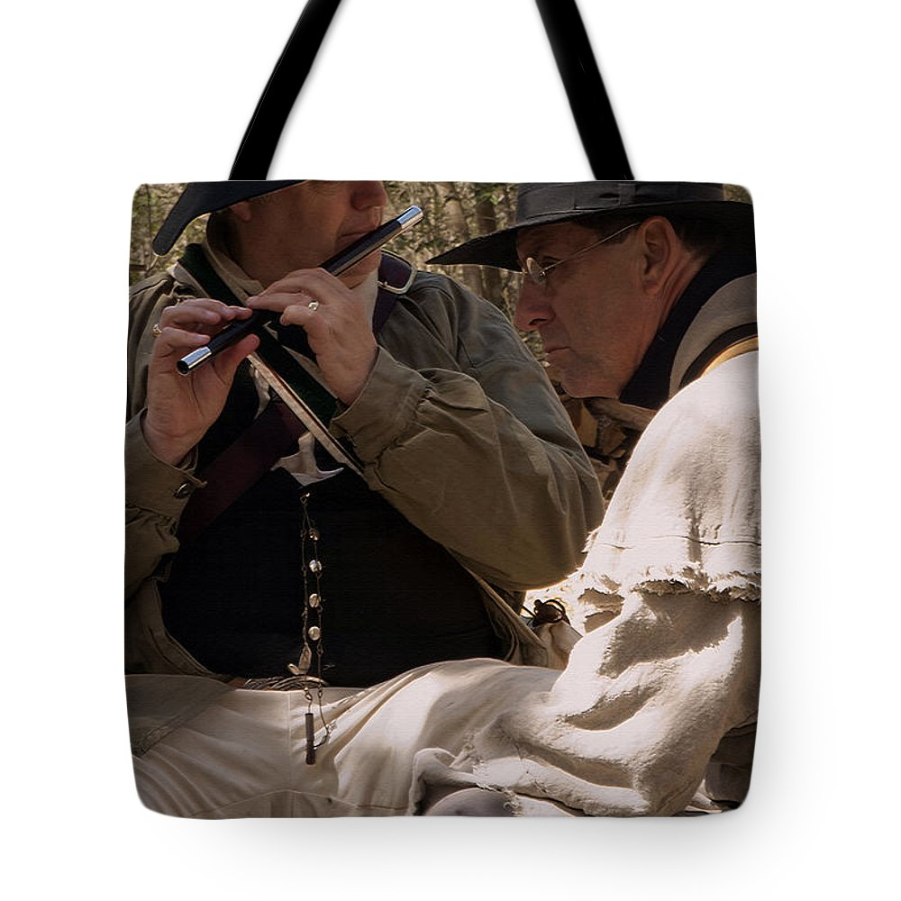 Reenactments Tote Bag featuring the photograph Flute Melody by Kim Henderson