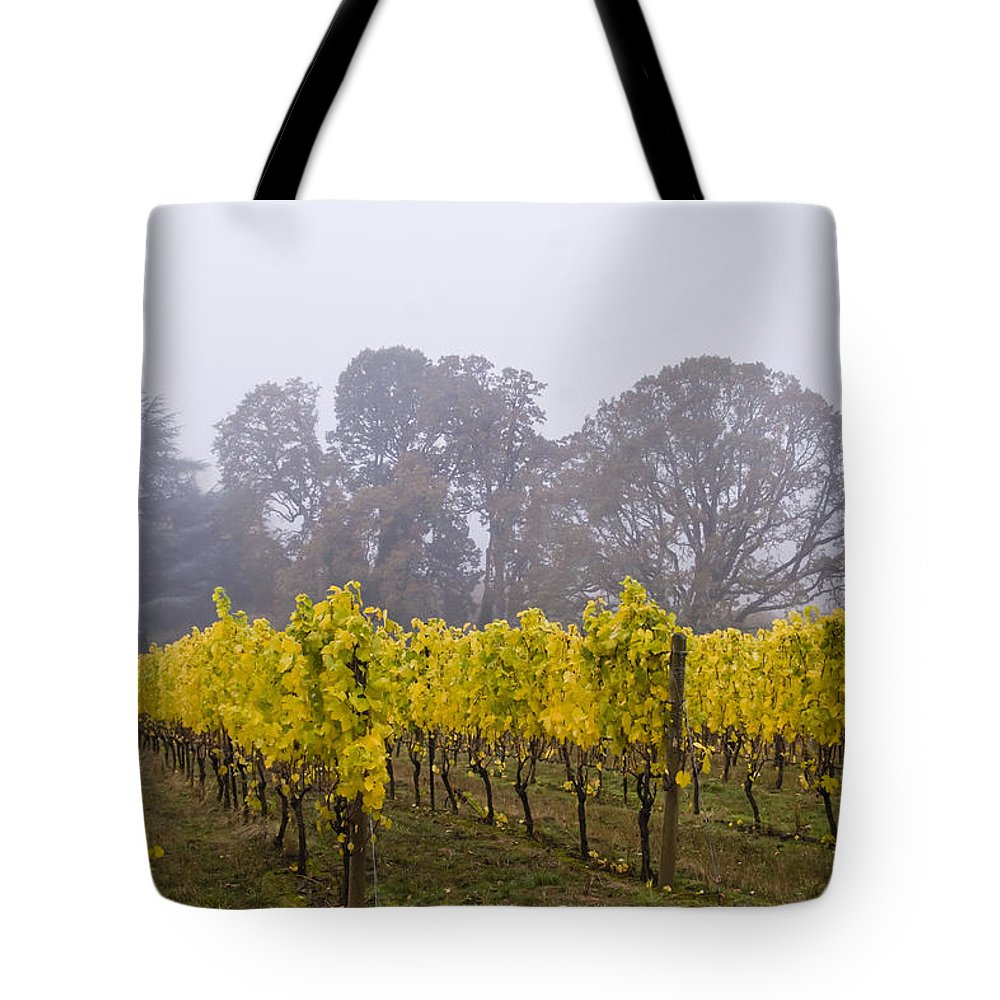 Vineyard Tote Bag featuring the photograph Fog In The Fall by Jean Noren