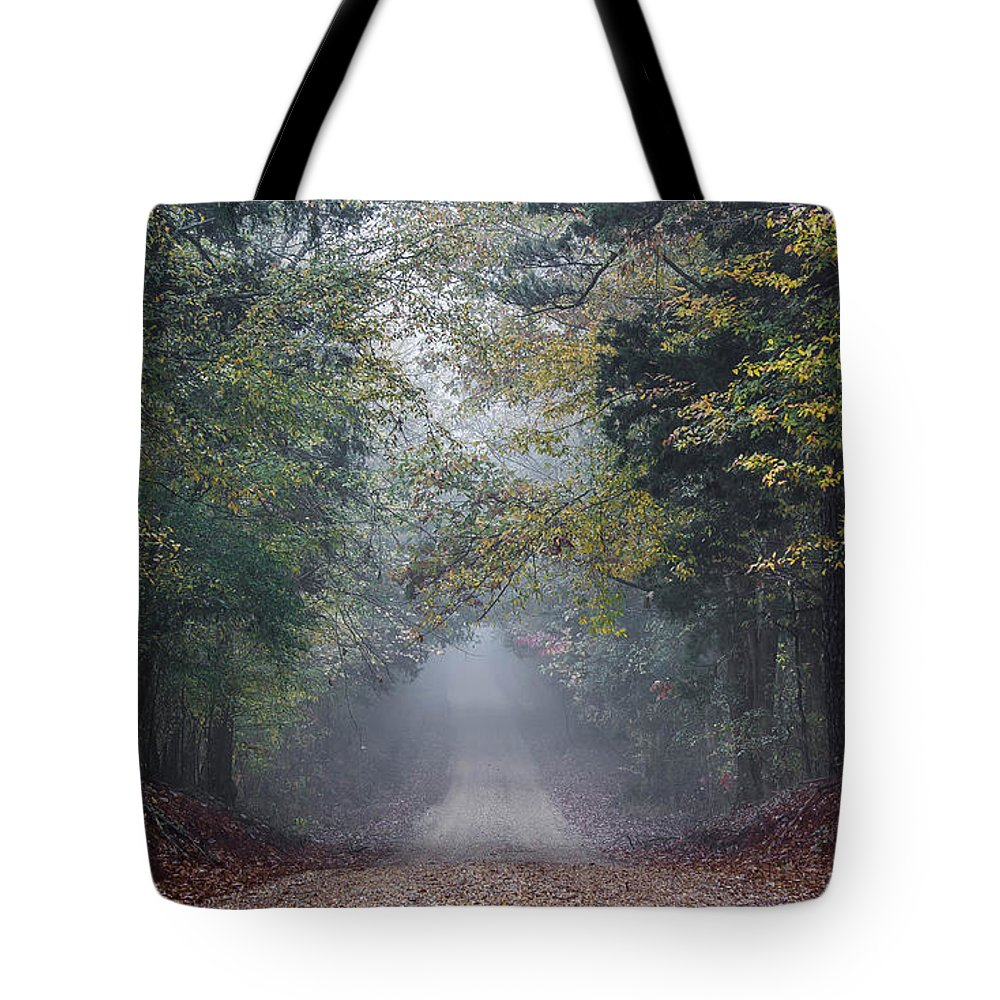 Fog Tote Bag featuring the photograph Fog Road by Joey Wilder