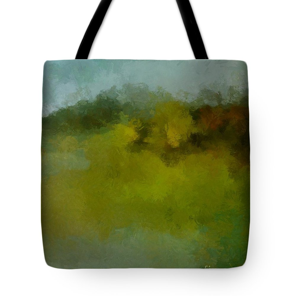 Foggy Day Tote Bag featuring the painting Foggy Day by Dragica Micki Fortuna