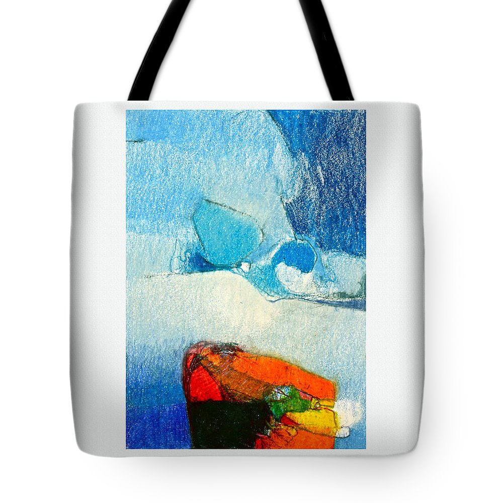 Awing Abstract Tote Bag featuring the drawing Foggy Hot Mesa With Center by Cliff Spohn