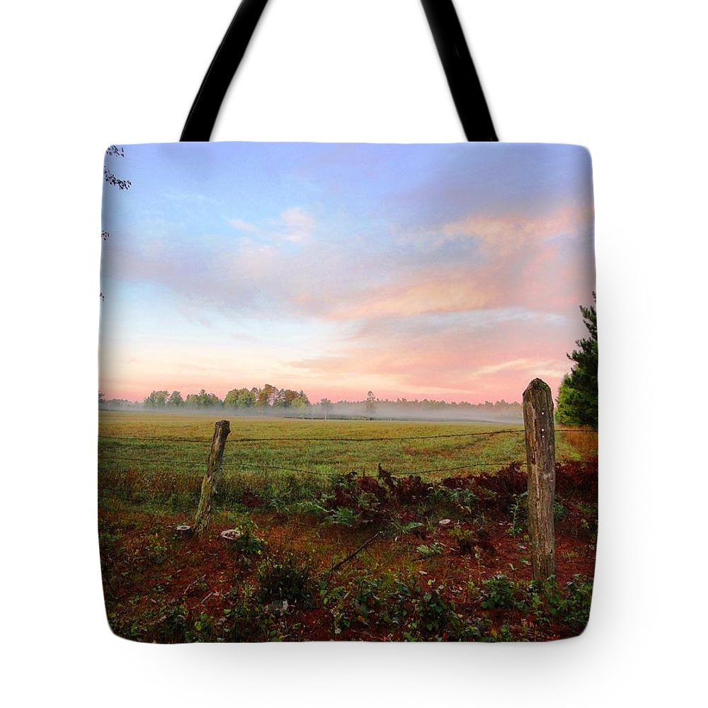 Fog Tote Bag featuring the photograph Foggy Morning Field by Sue Duda