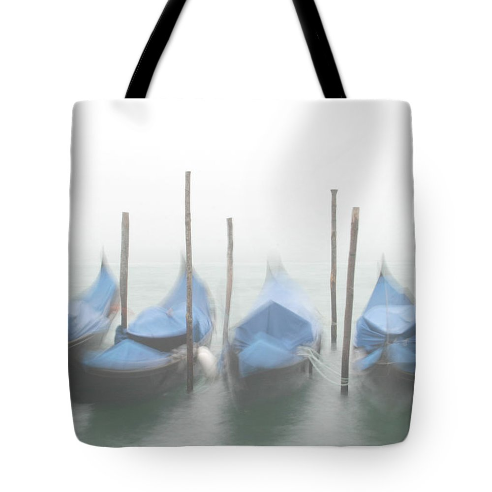 Venice Tote Bag featuring the photograph Foggy Morning Grand Canal by Tom and Pat Cory
