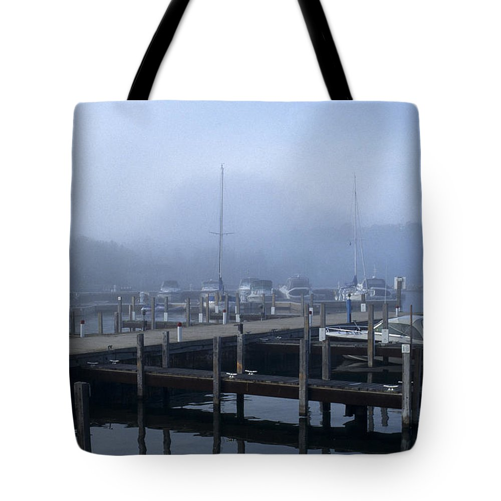 Sandra Bronstein Tote Bag featuring the photograph Foggy Morning In Door County by Sandra Bronstein