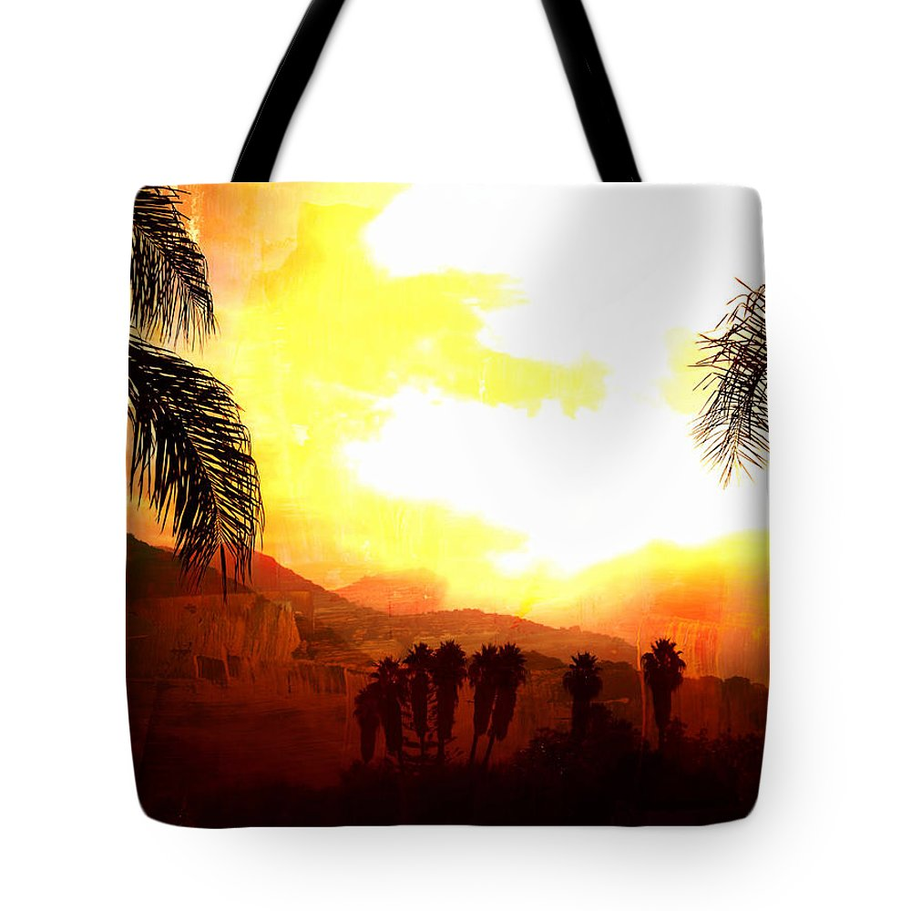 Palm Trees Tote Bag featuring the digital art Foggy Palms by Sharon Tate Soberon