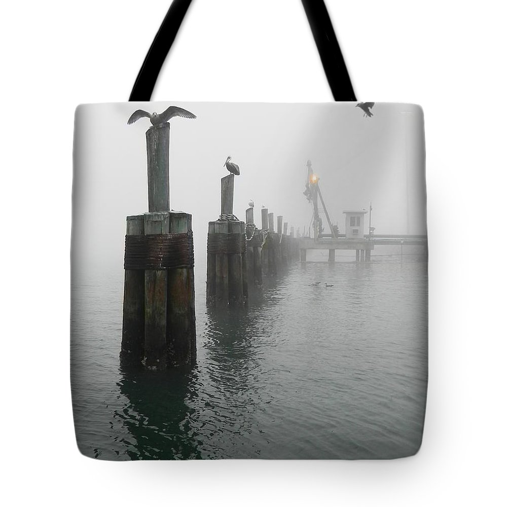 Birds Tote Bag featuring the photograph Foggy Pier by Francesa Miller