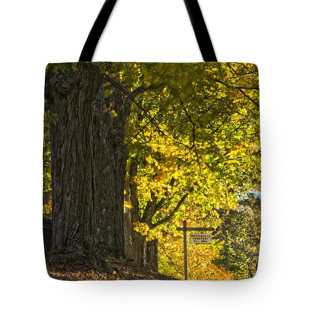 Leaves Tote Bag featuring the photograph Foliage At The Cemetery by Jonathan Steele