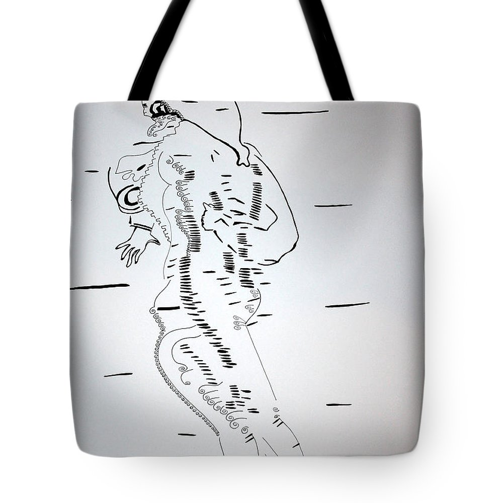 Jesus Tote Bag featuring the drawing Folk Dance - Denmark by Gloria Ssali