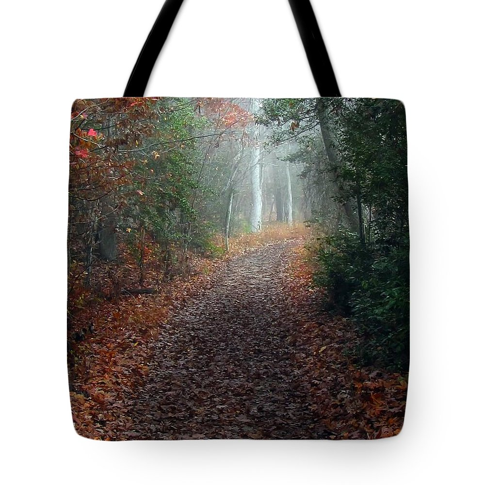 Fog Tote Bag featuring the photograph Follow The Fog by Beth Phifer