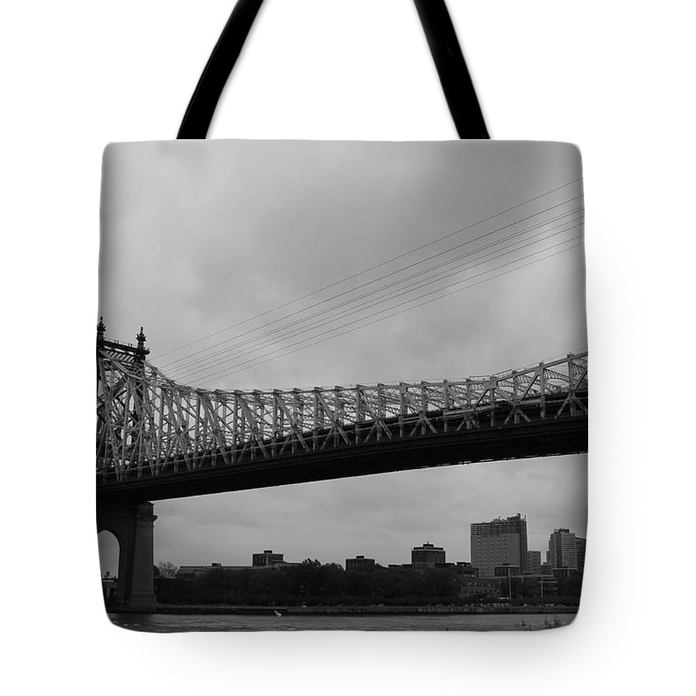 Queensboro Bridge Tote Bag featuring the photograph Foot Traffic On The Bridge Only by Catie Canetti