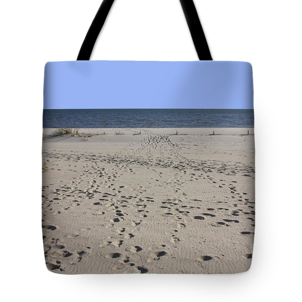 Biloxi Tote Bag featuring the photograph Footprints On Biloxi Beach by Carol Groenen