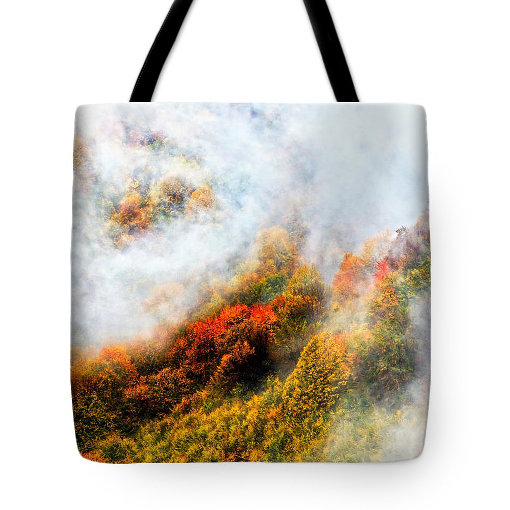 Balkan Mountains Tote Bag featuring the photograph Forest In Veil Of Mists by Evgeni Dinev