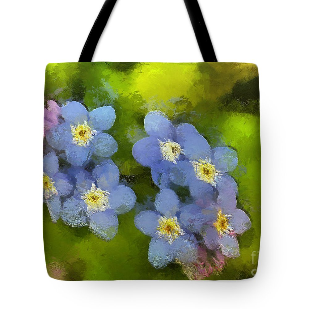 Flower Tote Bag featuring the painting Forget-me-not Flower by Dragica Micki Fortuna