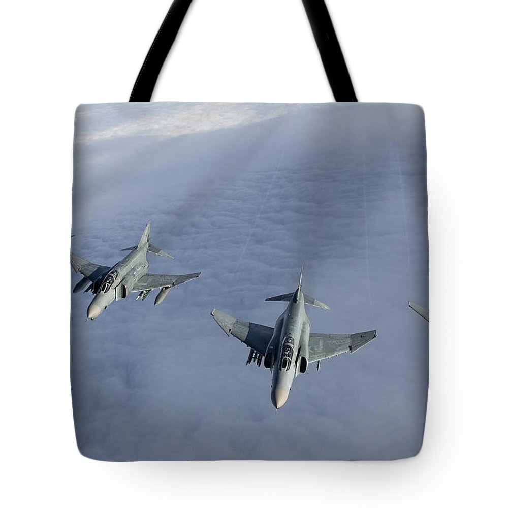 Germany Tote Bag featuring the photograph Formation Of Luftwaffe F-4f Phantom IIs by Gert Kromhout