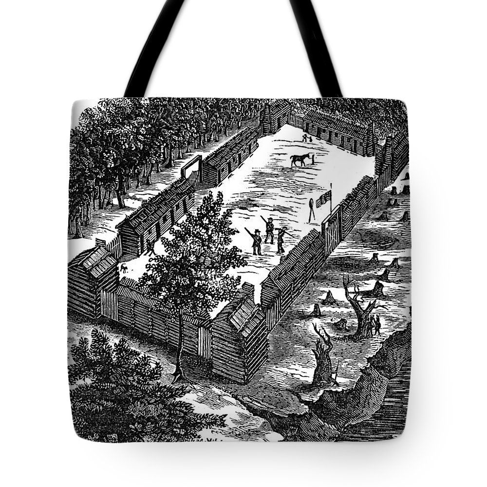 1775 Tote Bag featuring the photograph Fort Boonesborough, 1775 by Granger