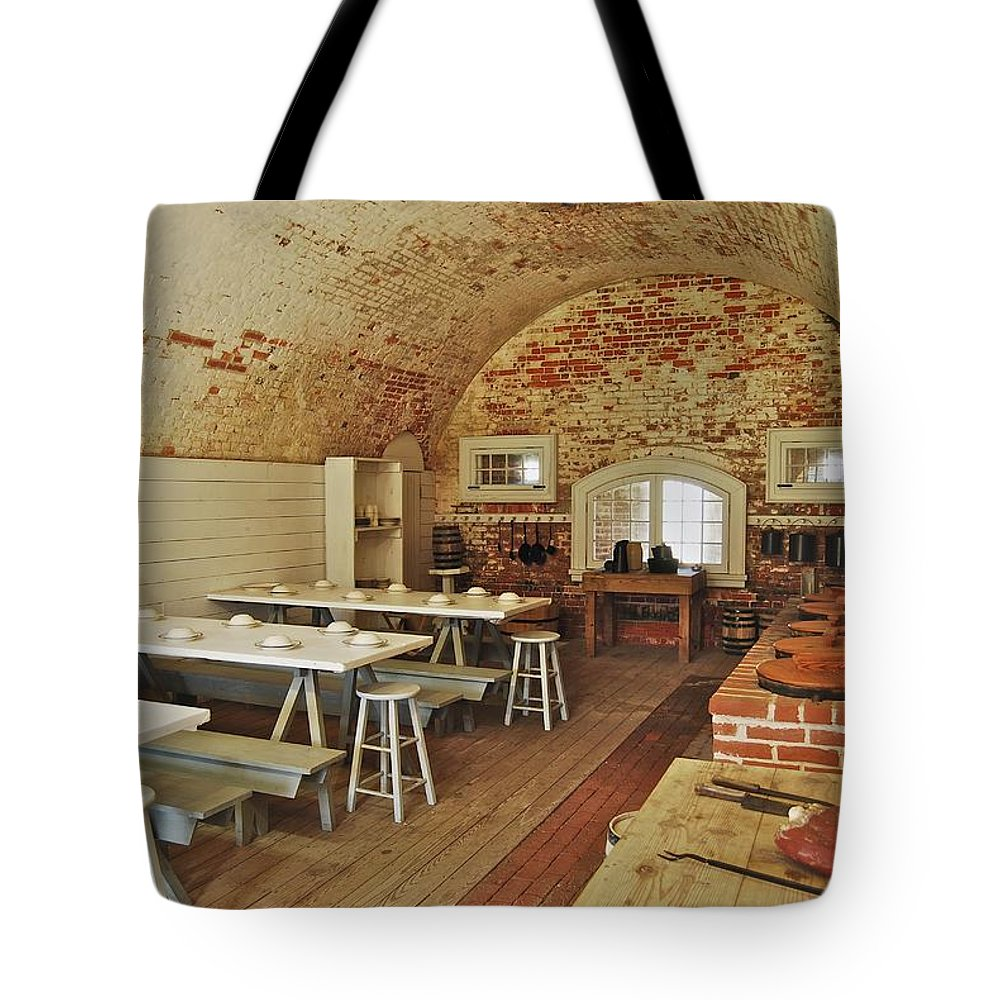Carolina Tote Bag featuring the photograph Fort Macon Mess Hall_9078_3765 by Michael Peychich