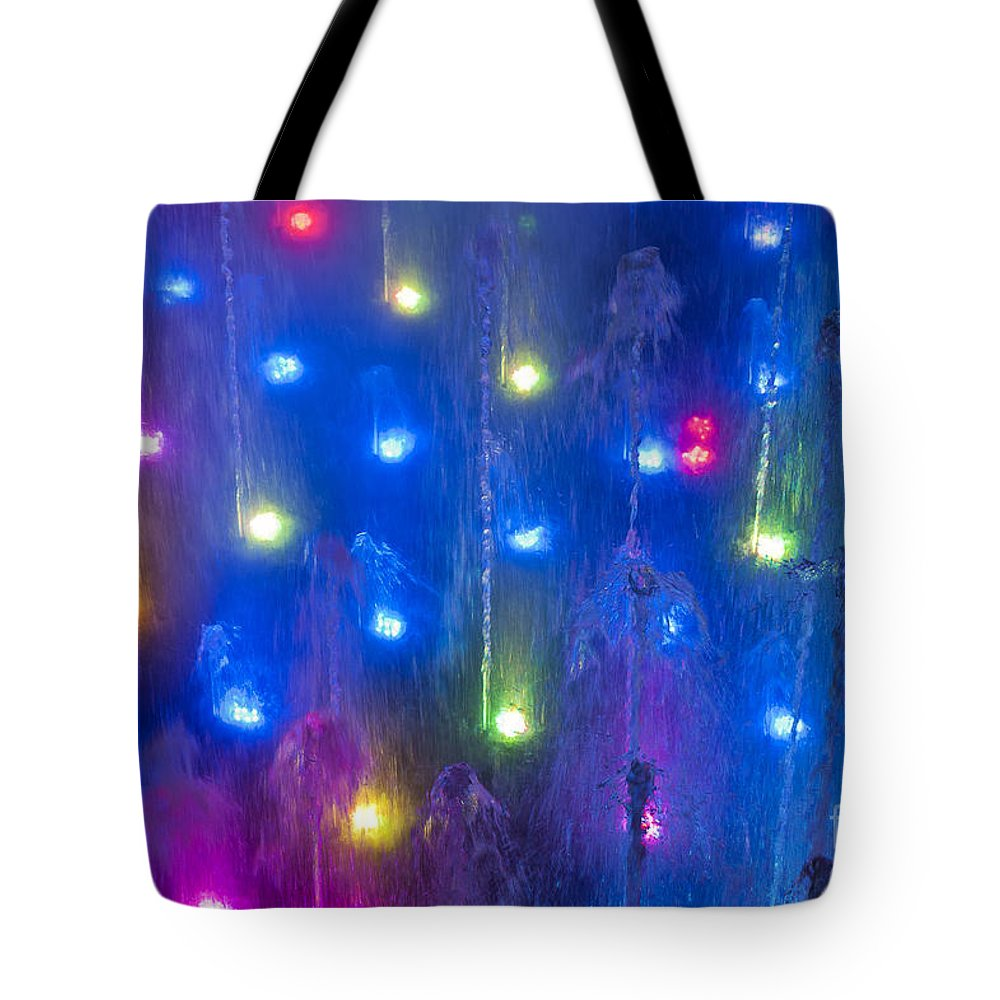 Fountain Tote Bag featuring the photograph Fountain Of Color by John Greim