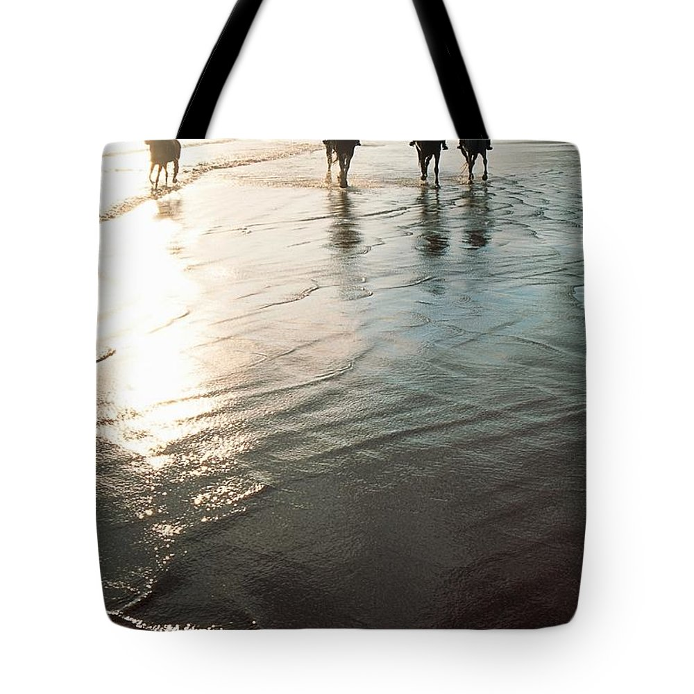 Day Tote Bag featuring the photograph Four People Horseback Riding On A by The Irish Image Collection