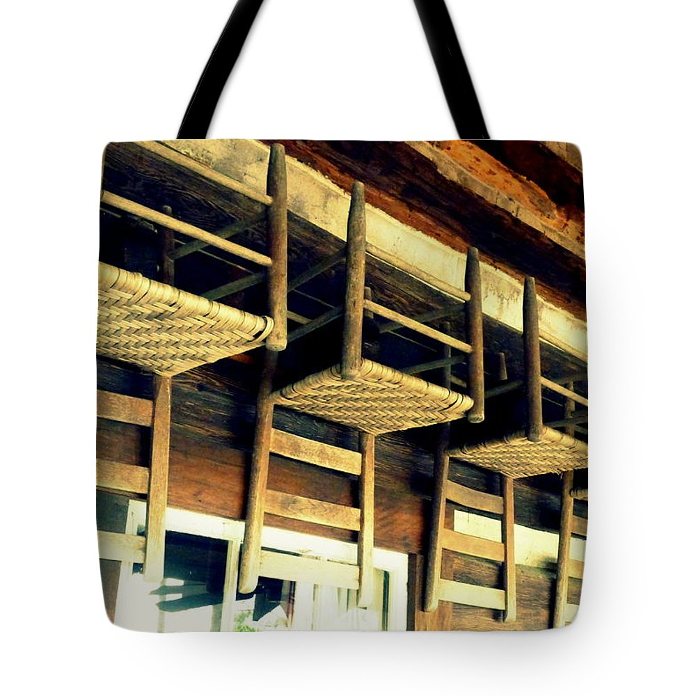 Chairs Tote Bag featuring the photograph Four Wooden Chairs by Carla Parris