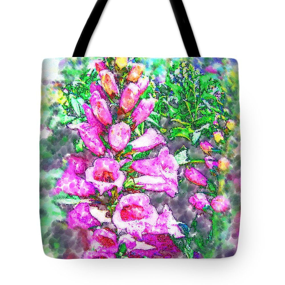 Foxglove Tote Bag featuring the photograph Foxglove Floral by Kathy Clark