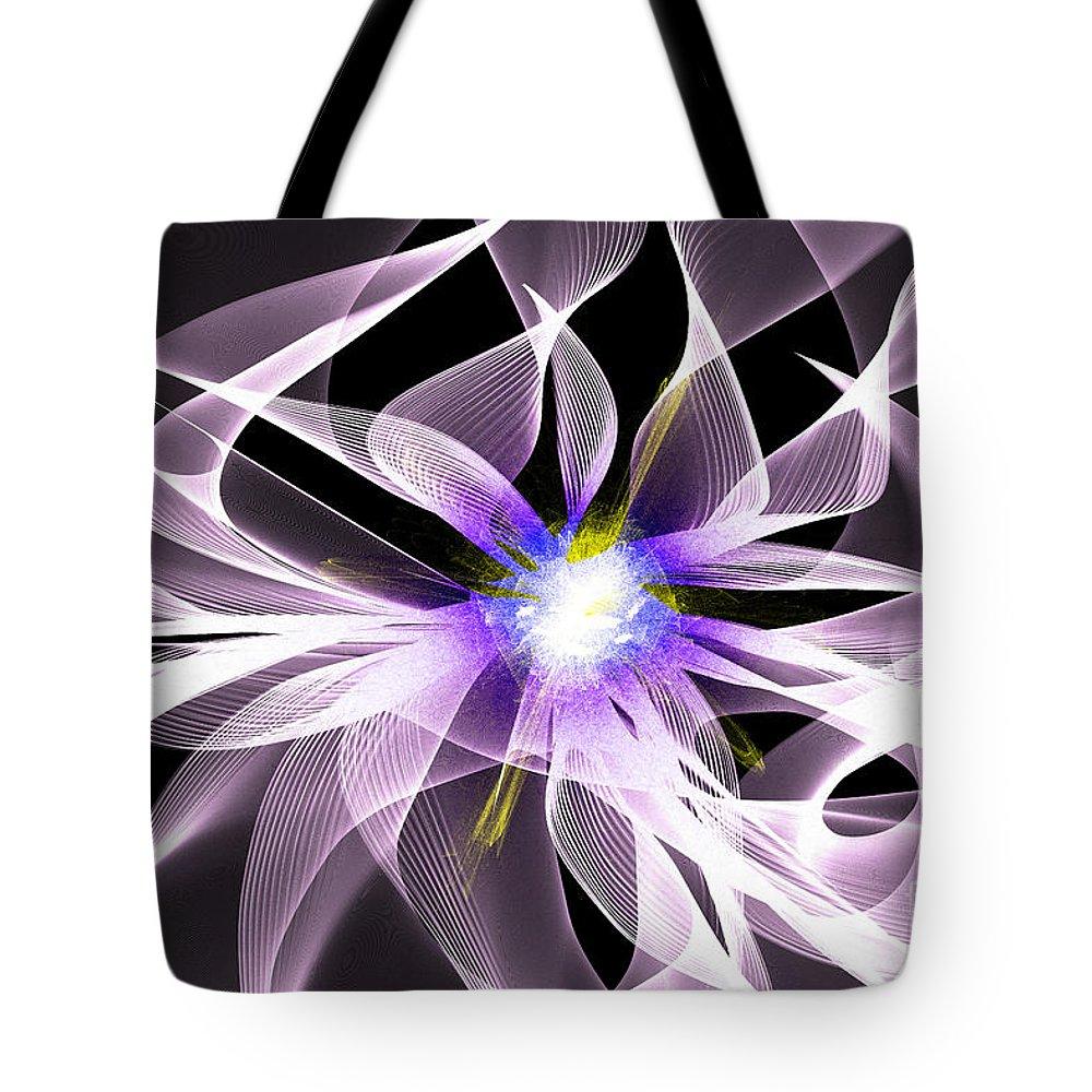 Digital Tote Bag featuring the digital art Fractal Flower . Dahlia by Renee Trenholm