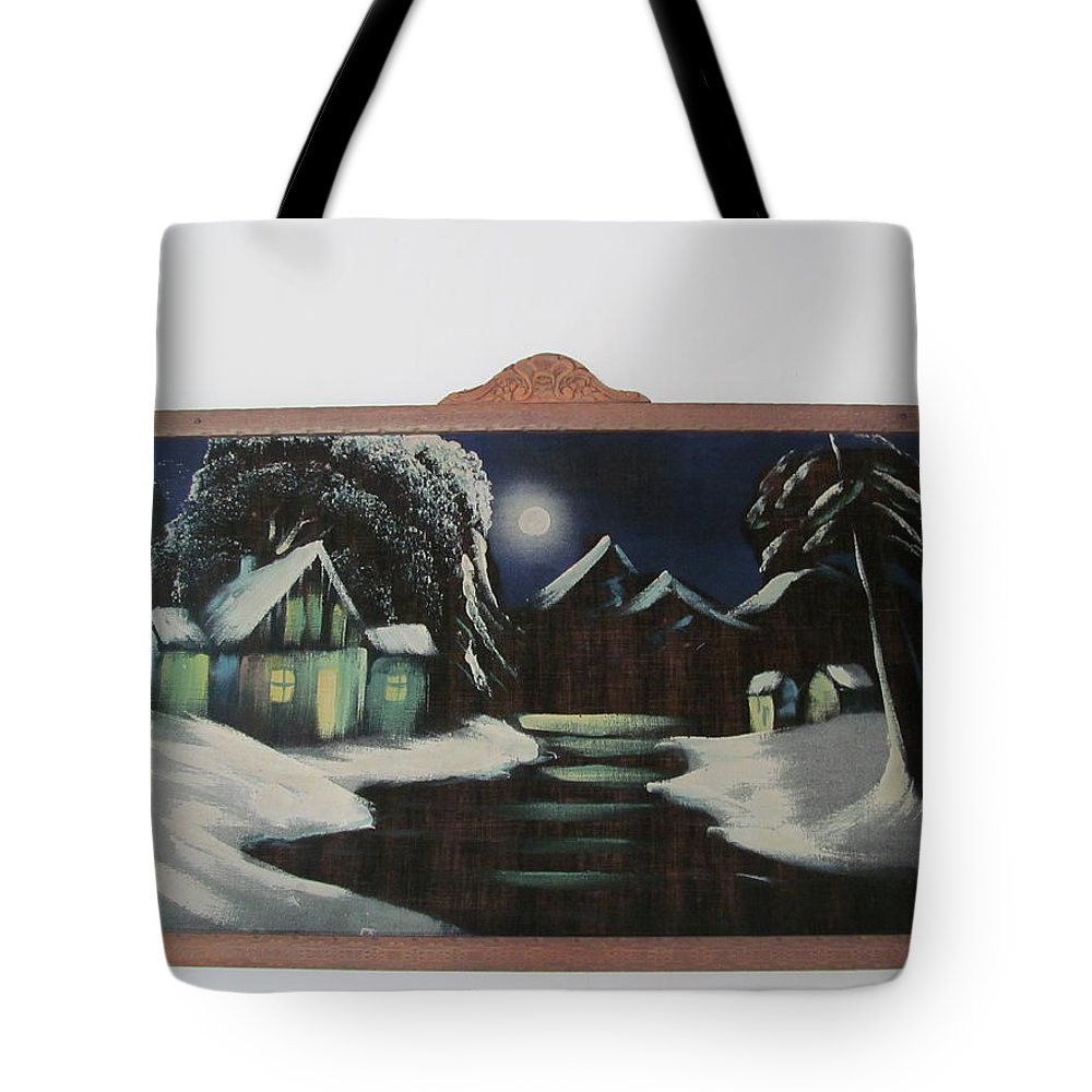 Tote Bag featuring the painting Framed Moon On Ice by Tina M Wenger