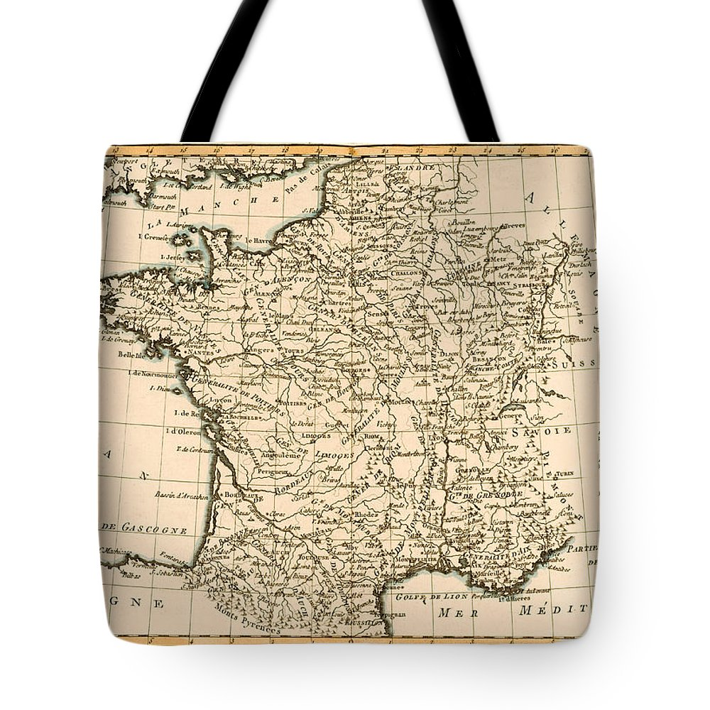 Maps Tote Bag featuring the drawing France By Regions by Guillaume Raynal