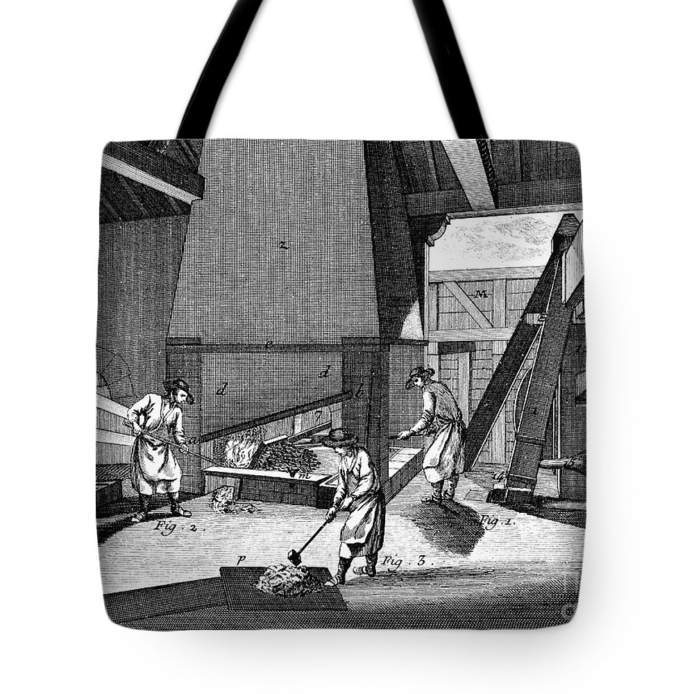 1750 Tote Bag featuring the photograph France: Iron Forge, C1750 by Granger