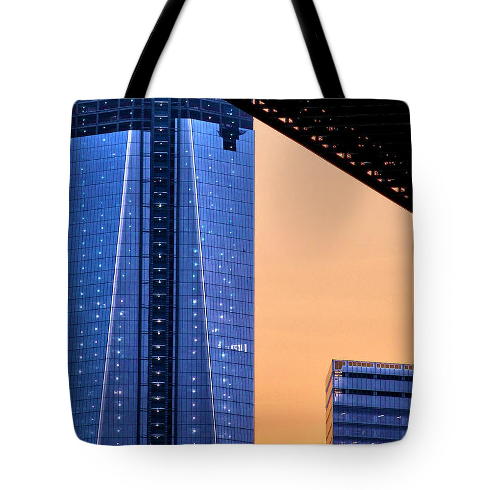 One World Trade Tote Bag featuring the photograph Freedom Tower by Mitch Cat
