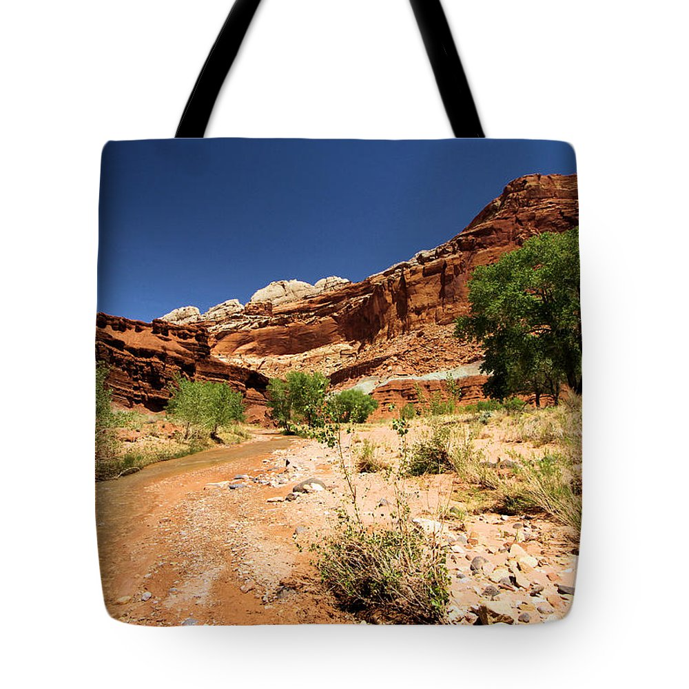 Fremont River Tote Bag featuring the photograph Fremont River by Adam Jewell