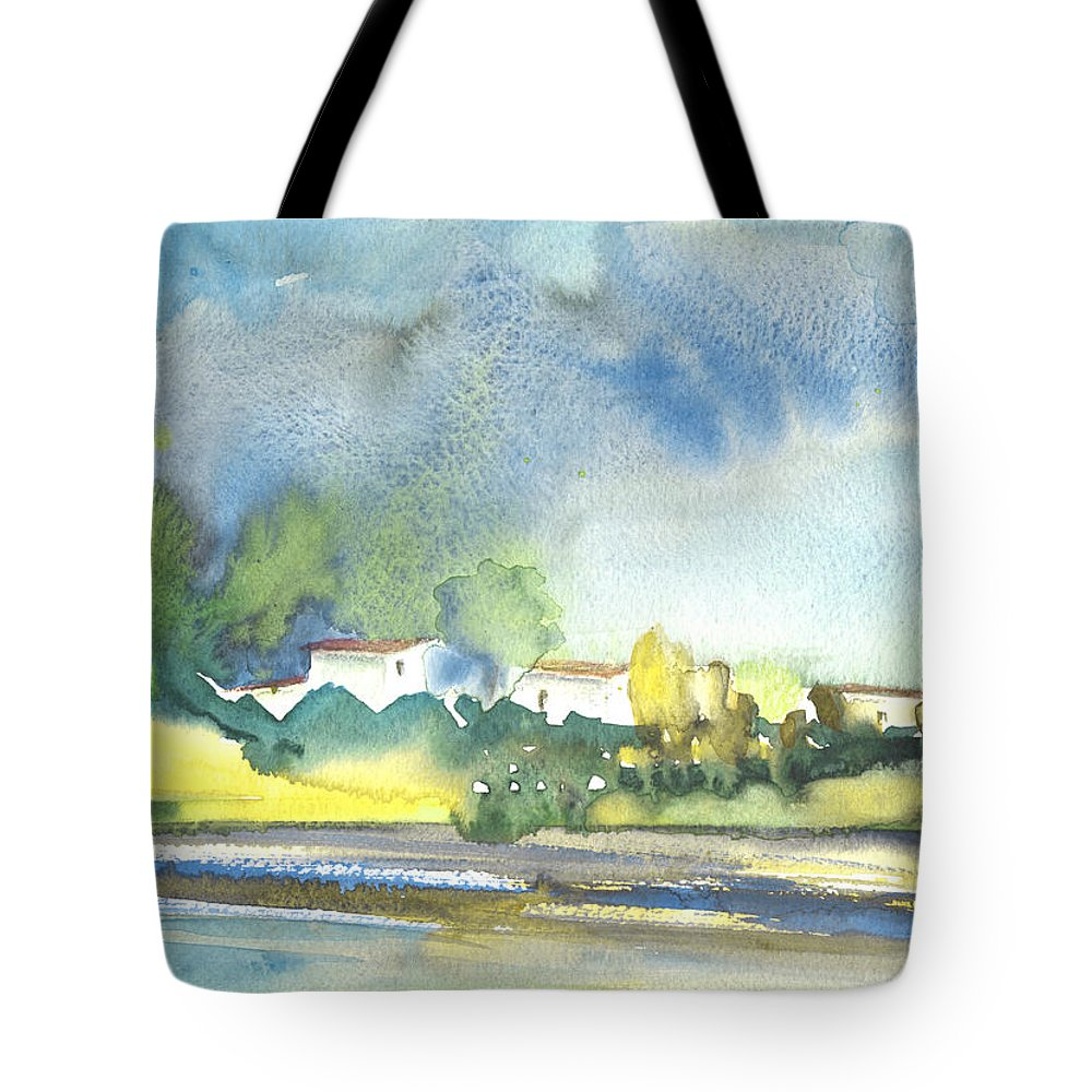 Travel Tote Bag featuring the painting French Village 01 by Miki De Goodaboom