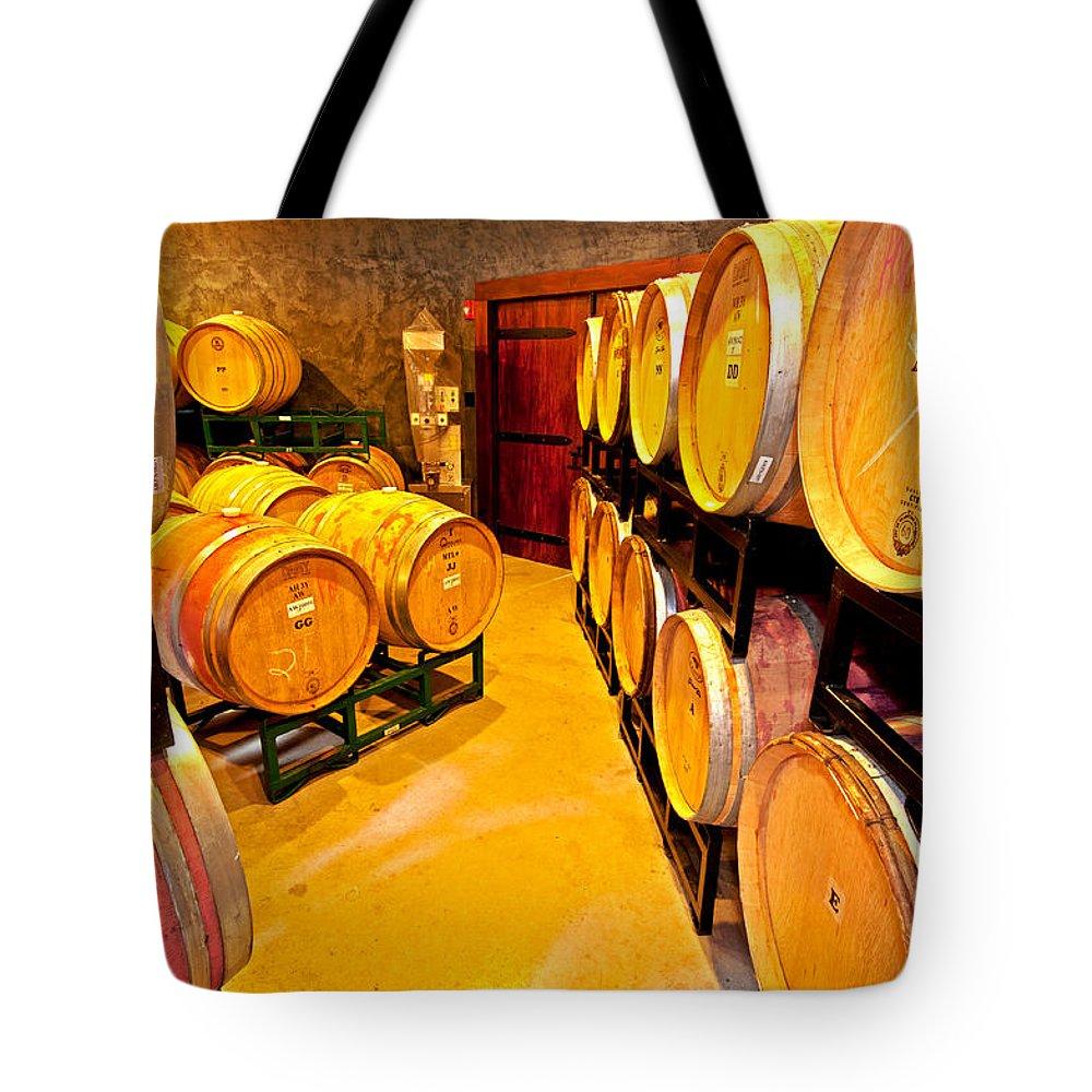 fresh Tracks Barrel Room Tote Bag featuring the photograph Fresh Tracks Barrel Room by Paul Mangold