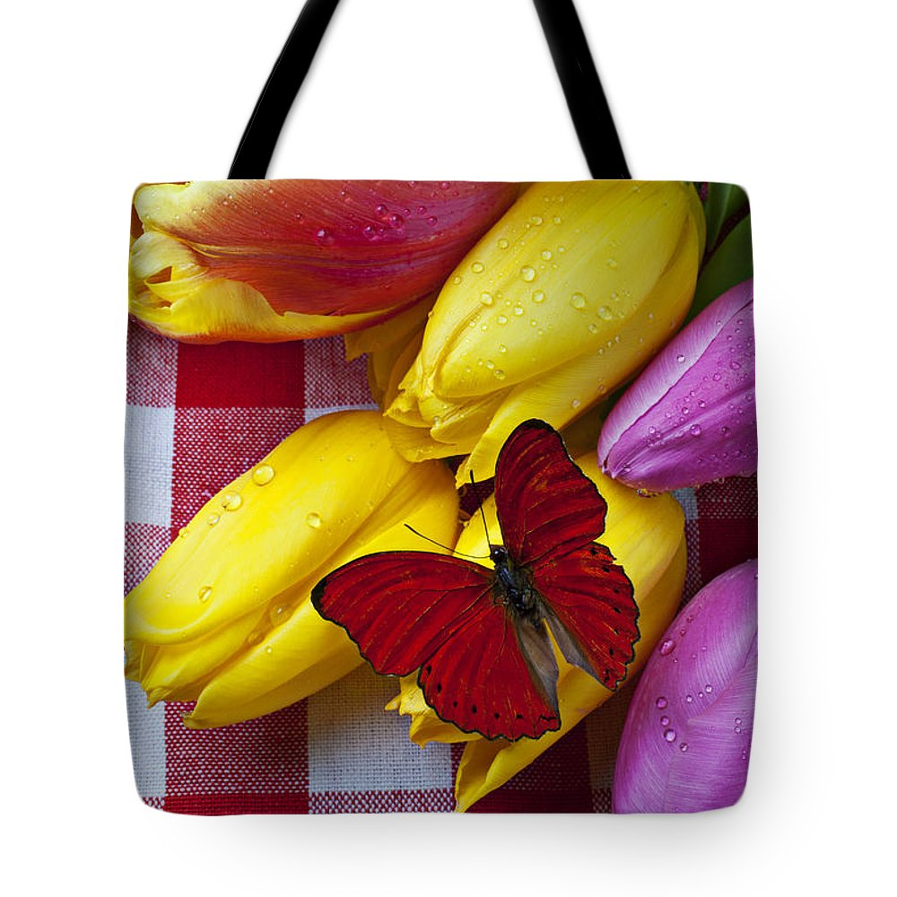Red Tote Bag featuring the photograph Fresh Tulips And Red Butterfly by Garry Gay
