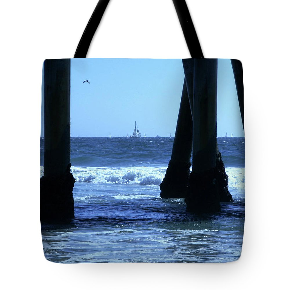 Pier Tote Bag featuring the photograph From Under The Pier by Lorraine Devon Wilke