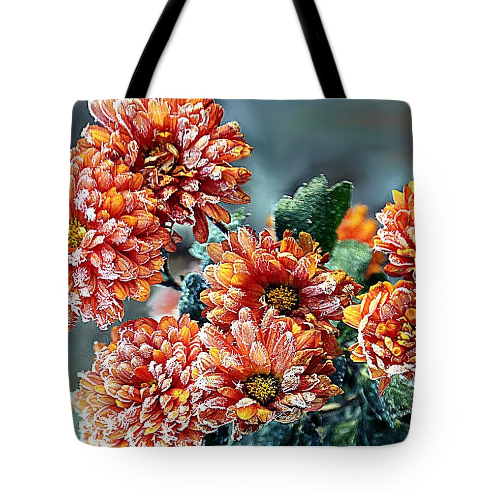 Mums Tote Bag featuring the photograph Frosted Mums by Elizabeth Winter