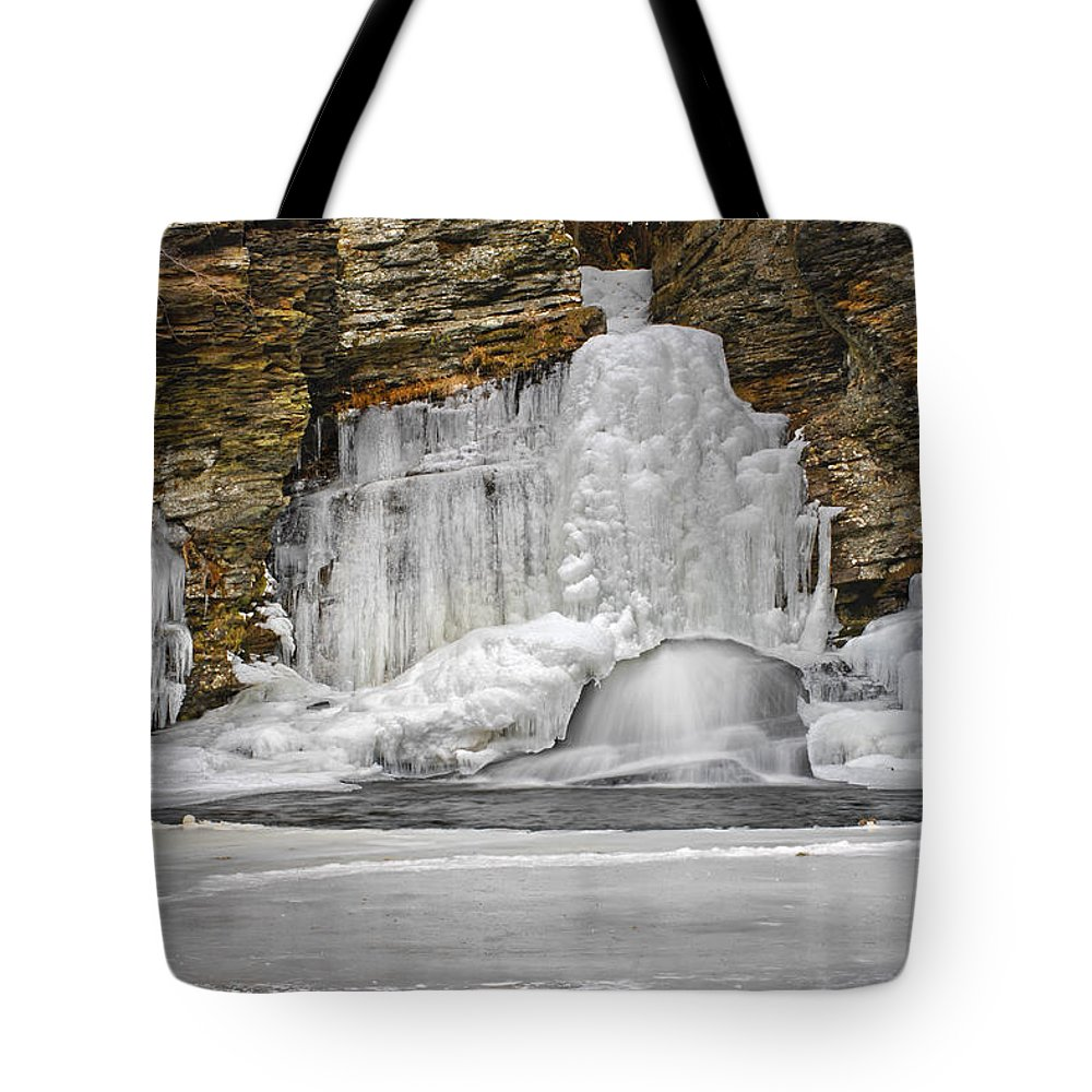 Waterfall Tote Bag featuring the photograph Frozen Falls by Dave Mills