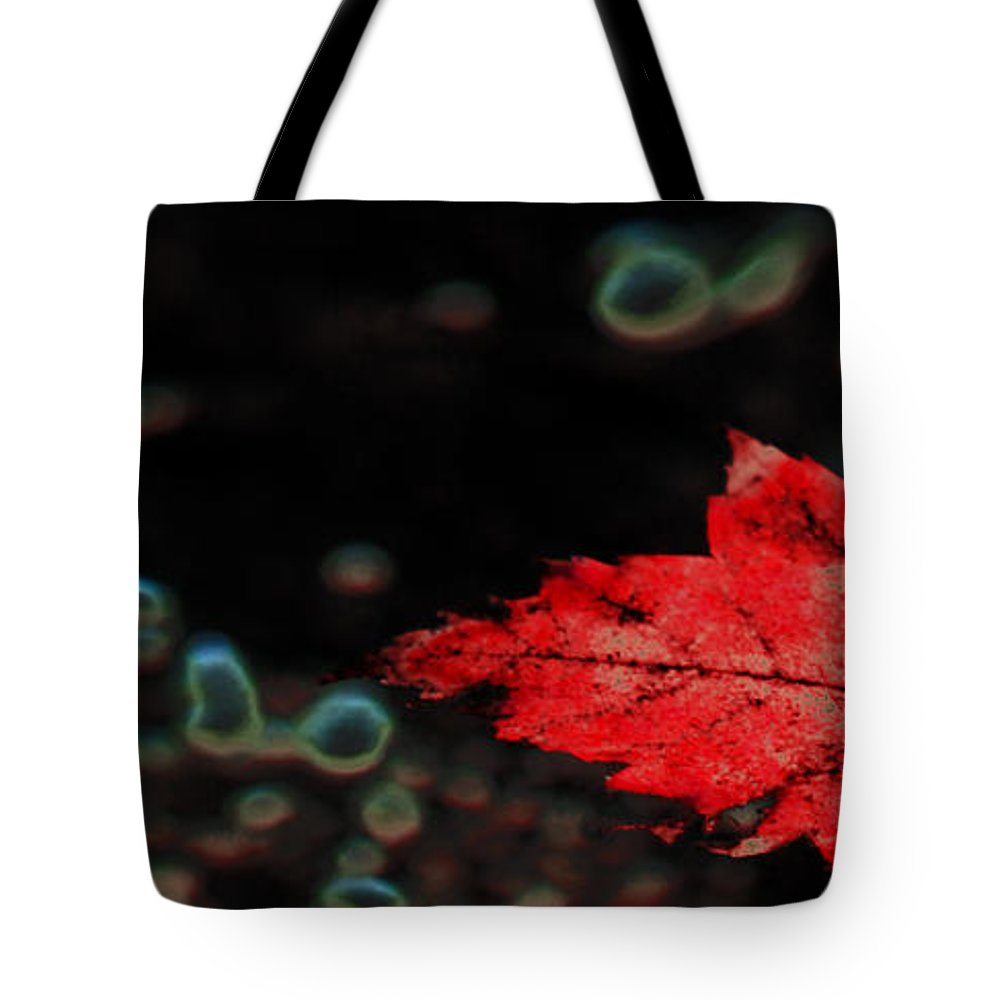 Red Leaf Tote Bag featuring the photograph Frozen Red Leaf by Optical Playground By MP Ray