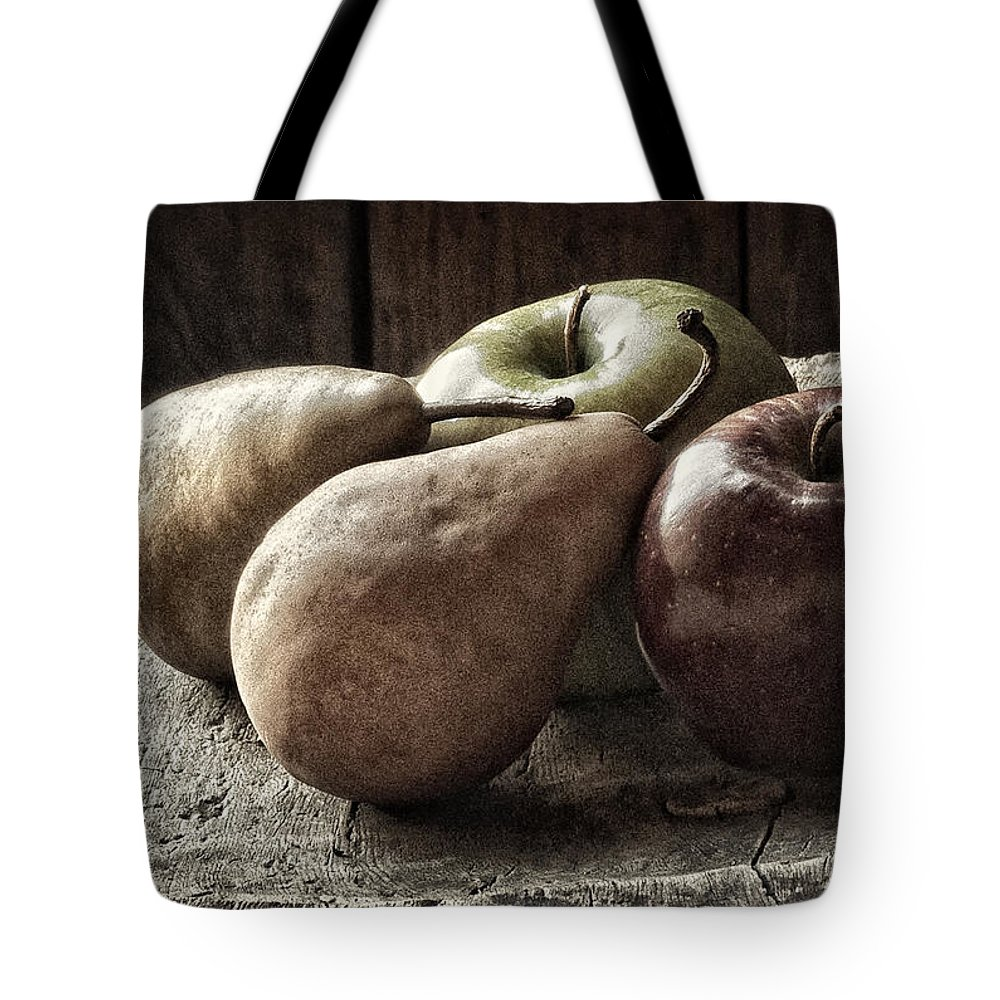 Fruit Tote Bag featuring the photograph Fruit On A Wooden Stool by Javier Barras