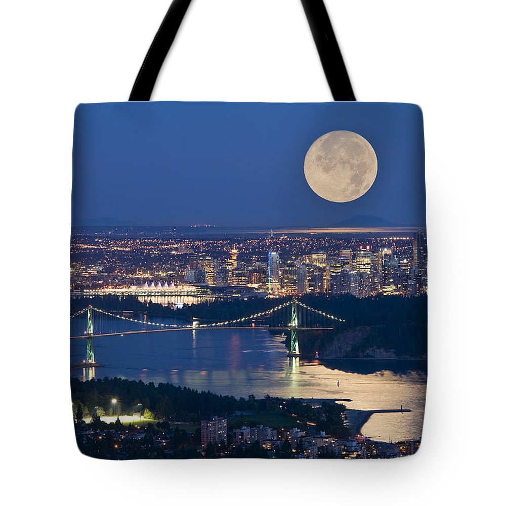 Bridges Tote Bag featuring the photograph Full Moonrise Over Vancouver, British by David Nunuk