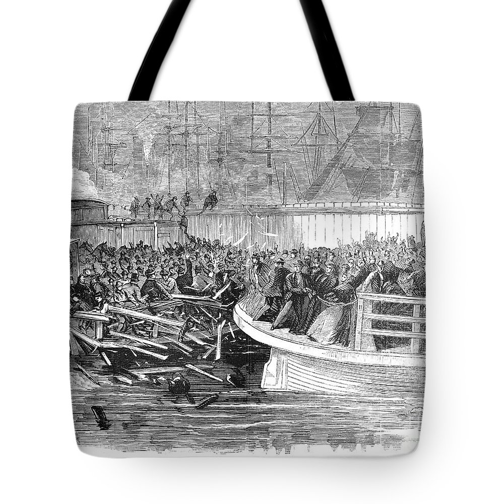 1868 Tote Bag featuring the photograph Fulton Ferry Boat, 1868 by Granger