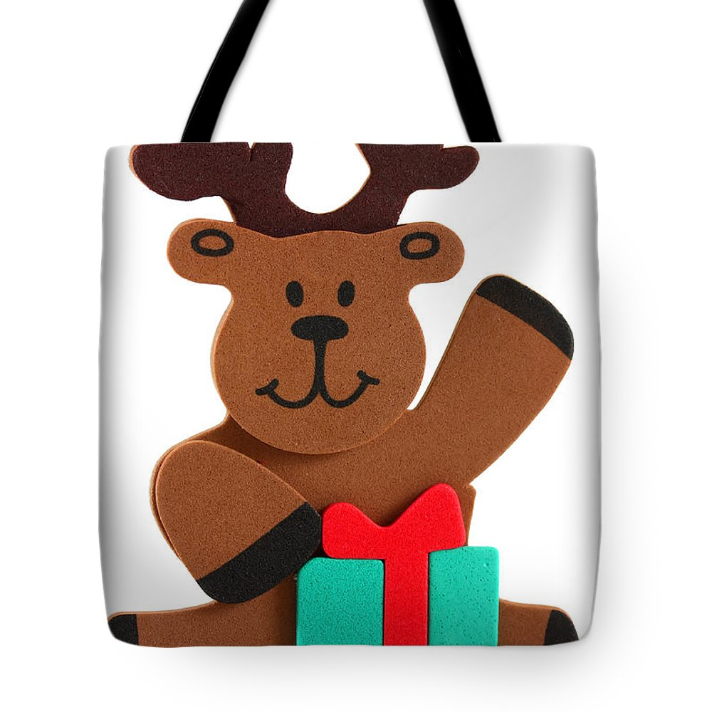 Animal Tote Bag featuring the photograph Fun Reindeer Sitting by Simon Bratt Photography LRPS