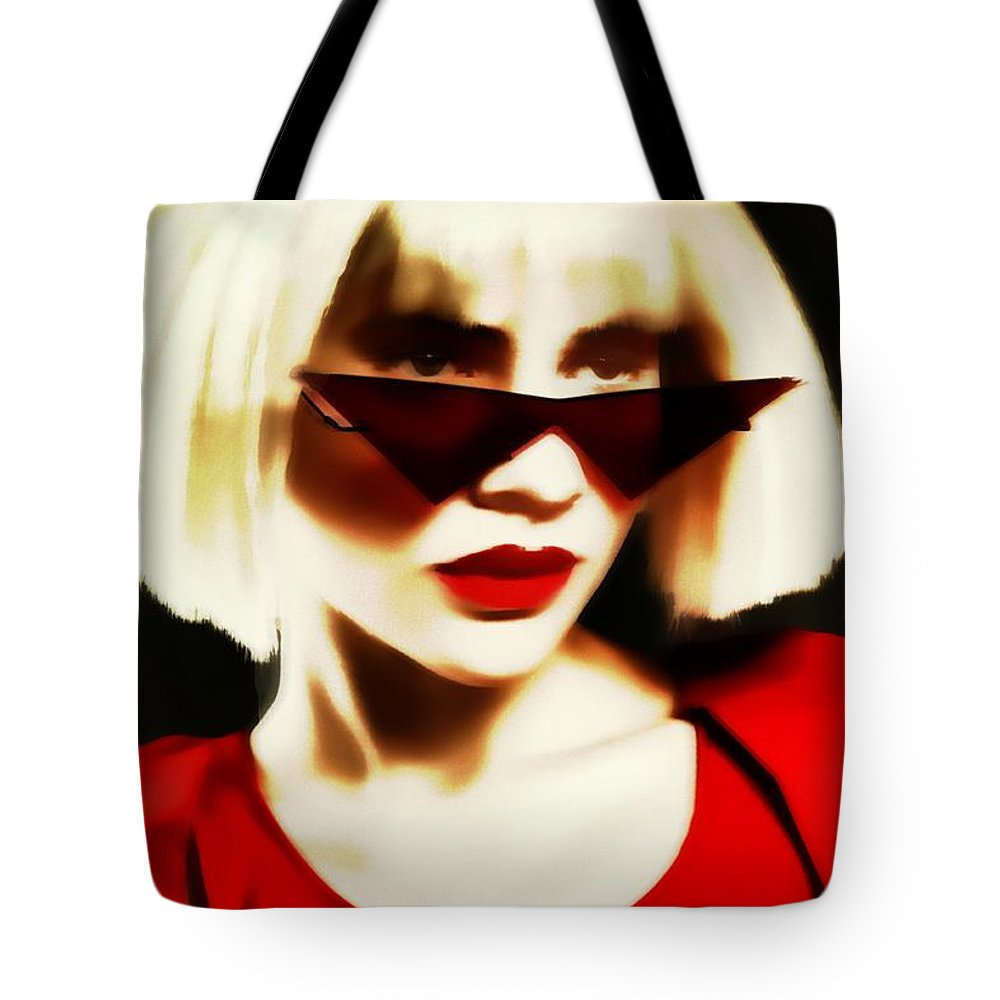 Blonde Pinhole Effect Red Glasses Woman Lady Tote Bag featuring the photograph Funky Red Glasses by Alice Gipson