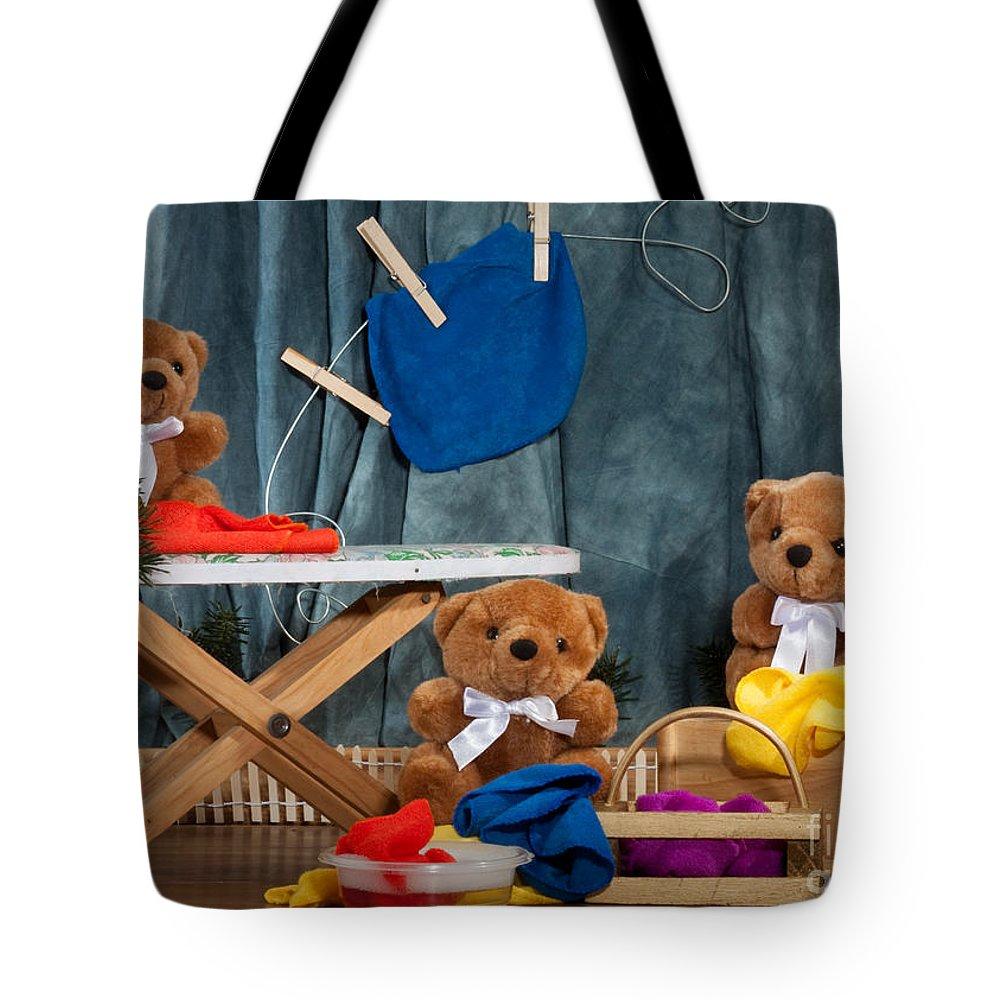 (c) Dinah Anaya Tote Bag featuring the photograph Fuzzy Bears 4 by Dinah Anaya