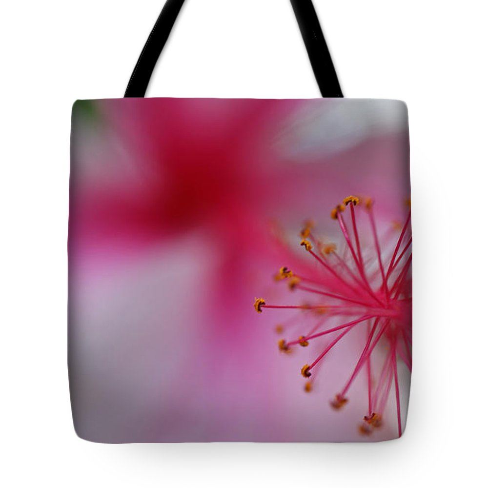 Pink Tote Bag featuring the photograph Fuzzy Hibiscus by Cathi Abbiss Crane