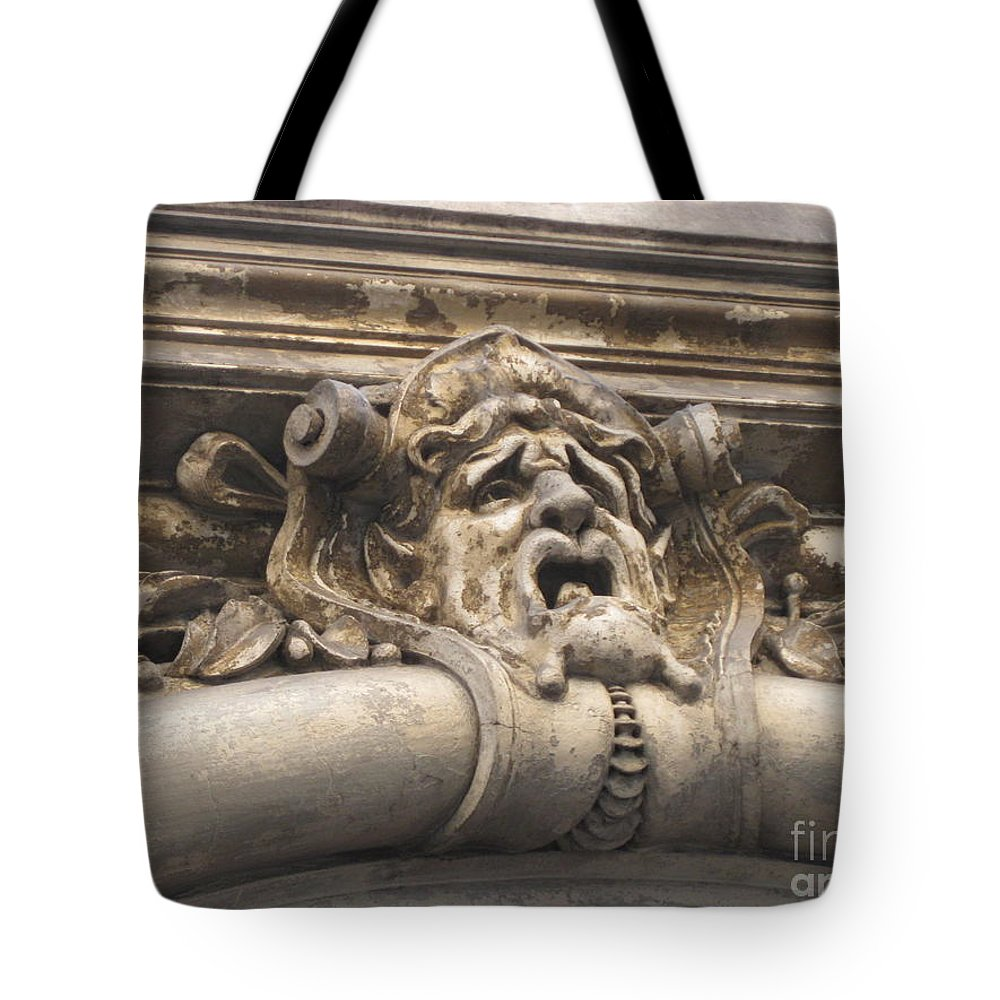 Architecture Tote Bag featuring the pyrography Gaging Choking by John Malone