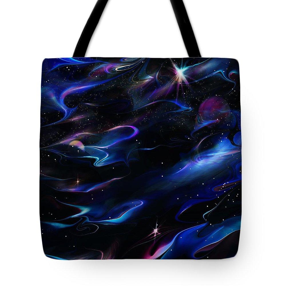 Galaxy Tote Bag featuring the digital art Galaxies by Rachel Christine Nowicki