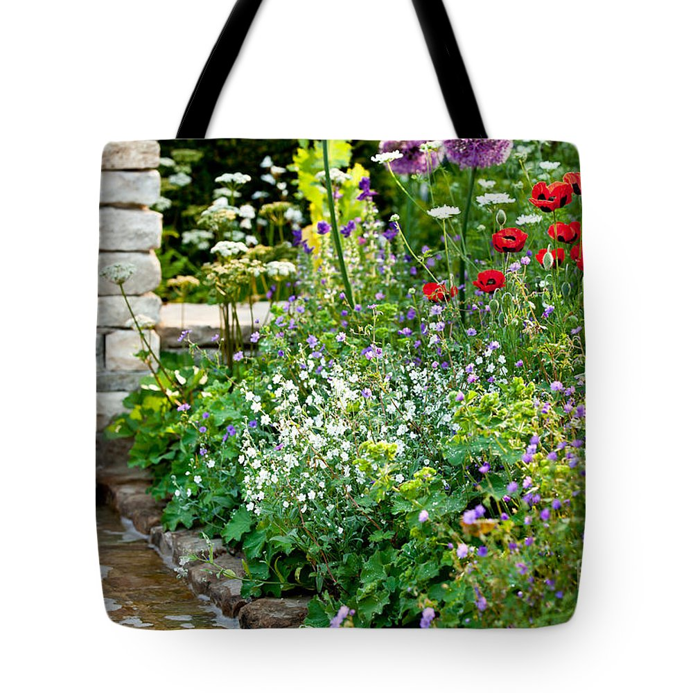 Garden Tote Bag featuring the photograph Garden Flowers With Stream by Simon Bratt Photography LRPS