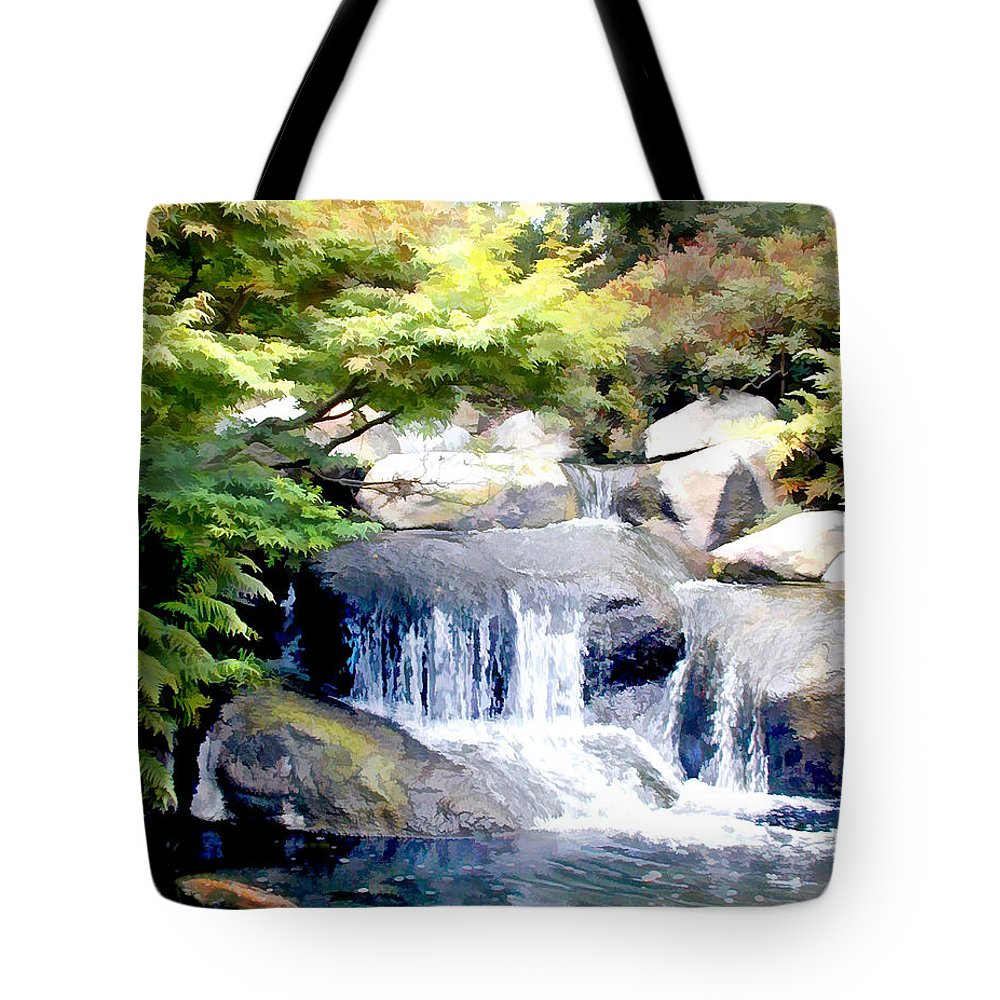Japanese Garden Tote Bag featuring the painting Garden Waterfall With Koi Pond by Elaine Plesser