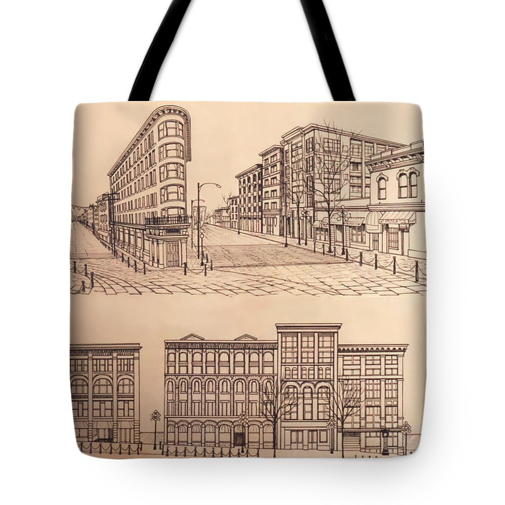 Gastown vancouver canada prints tote bag for sale by kim hunter cityscape tote bag featuring the drawing gastown vancouver canada prints by kim hunter reheart Images